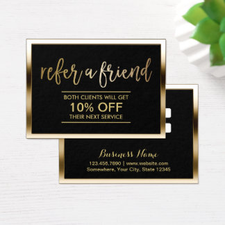 Referral Card | Modern Black & Gold Framed