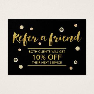 Referral Card   Modern Gold Sequins Salon Spa