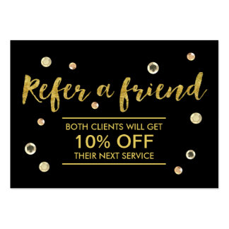 Referral Card | Modern Gold Sequins Salon Spa Pack Of Chubby Business Cards