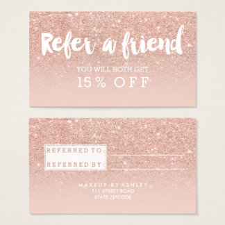 Referral card modern typography blush rose gold