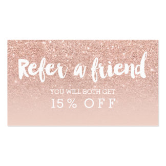 Referral card modern typography blush rose gold pack of standard business cards