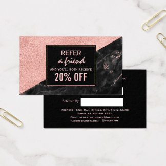 Referral Card Rose Gold Marble Beauty Salon Custom