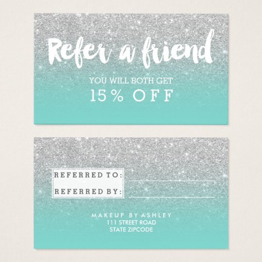 Referral card typography silver glitter turquoise