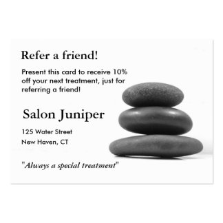 Referral Card with Balancing Stones Pack Of Chubby Business Cards