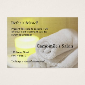 Referral Card with candles and towels