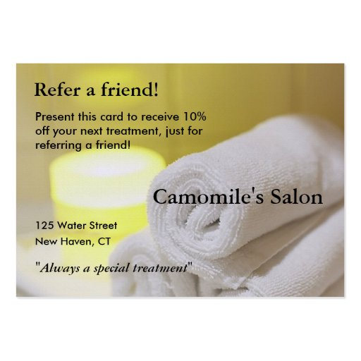 Referral Card with candles and towels Business Card Template