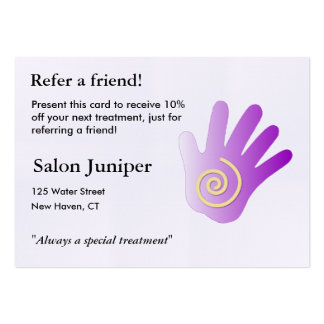 Referral Card with massage hand Pack Of Chubby Business Cards