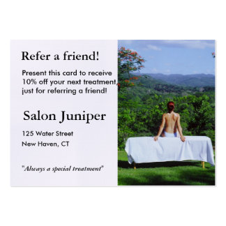 Referral Card with outdoor massage table Business Card