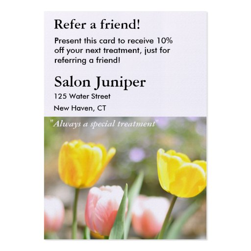 Referral Card with Pink and Yellow Tulips Business Cards