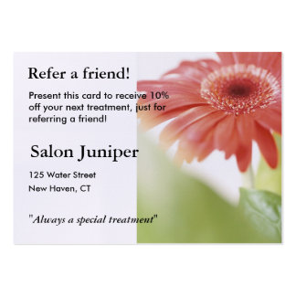 Referral Card with pink gerbera daisy Large Business Cards (Pack Of 100)