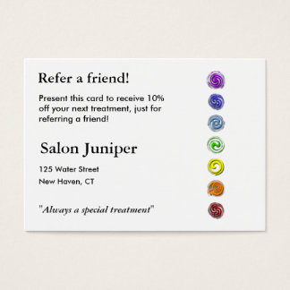 Referral Card with seven chakras