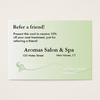 Referral Card with shaded green background