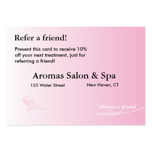 Referral Card with shaded pink background Business Cards