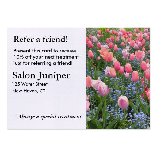 Referral Card with Tulips and Forget-Me-Nots Business Card