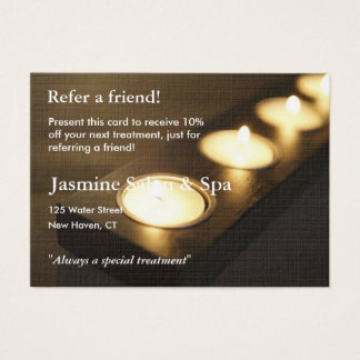 Referral Card with votive candles