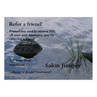 Referral Card with water and stones Large Business Cards (Pack Of 100)