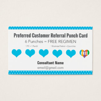 Referral Punch Card - Blue with White Polka Dots
