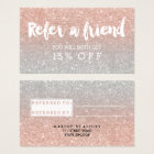 Referral typography rose gold silver glitter business card