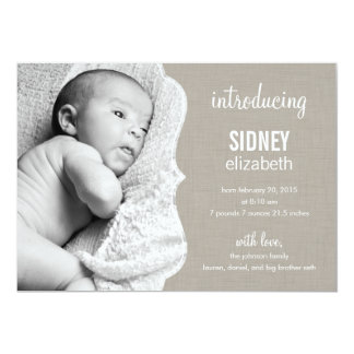 Refined Elegance Baby Birth Announcement