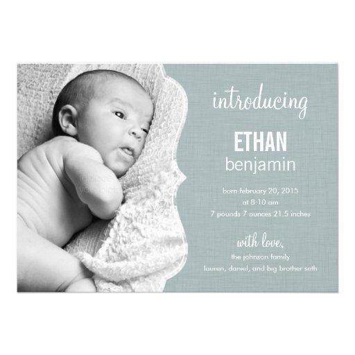 Refined Elegance Baby Birth Announcement Custom Invitation