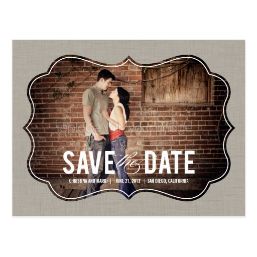 Refined Elegance Save The Date Postcard - Khaki