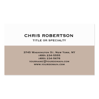 Refined White Beige Striped Modern Business Card