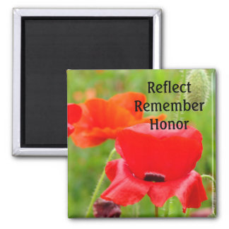Reflect Remember Honor magnets Red Poppies