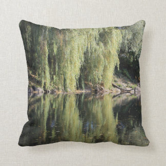 Reflected Willow Trees In River Cushion