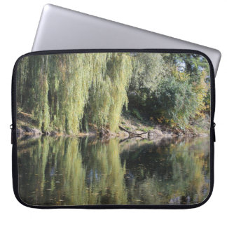 Reflected Willow Trees In River Laptop Sleeve