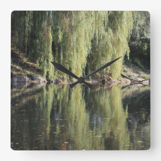 Reflected Willow Trees In River Square Wall Clock