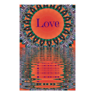 Reflecting Love Red Purple Mandala Pattern Stationery