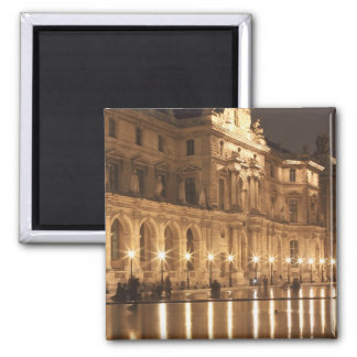 Reflecting pool at the Louvre, Paris, France Square Magnet