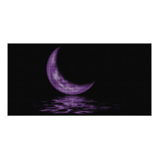 Reflection Crescent Moon On Lake Purple Personalised Photo Card