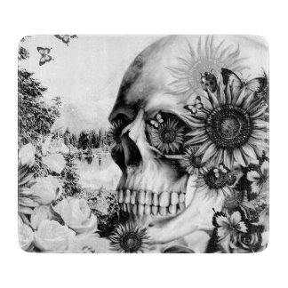 Reflection. Floral landscape skull. Cutting Board