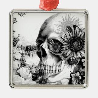 Reflection. Floral landscape skull. Silver-Colored Square Decoration