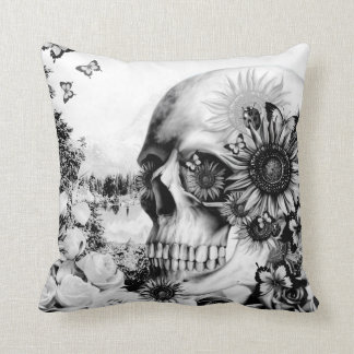 Reflection, floral nature skull cushion