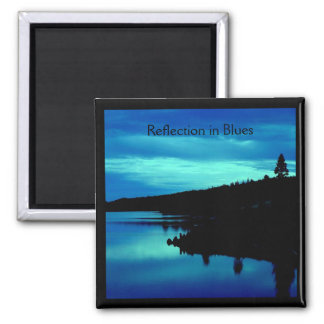 Reflection in Blues Square Magnet