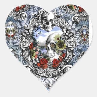 Reflection landscape skull in ornate frame heart sticker