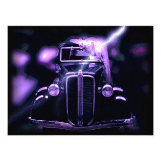 Reflection Of Collectible Classic Cars (Lightning) Photo Print