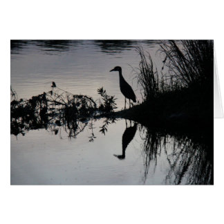 Reflection of Heron on Riverbank at Sunset Card