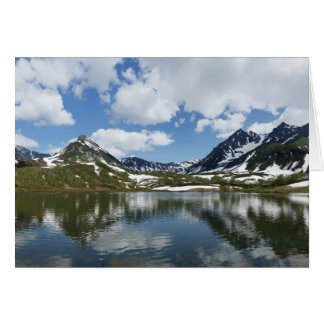 Reflection of sky and clouds in mountain lake card