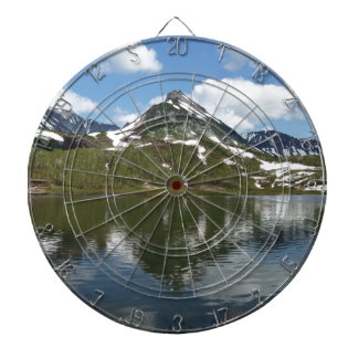 Reflection of sky and clouds in mountain lake dartboard