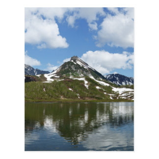 Reflection of sky and clouds in mountain lake postcard