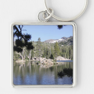 Reflection on the water Silver-Colored square key ring