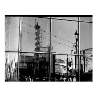 Reflection Sandcastle window B/W Postcard