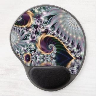 Reflection Silver Spiral Fractal Gel Mouse Pad