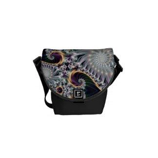 Reflection Silver Spiral Fractal Messenger Bag