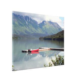 Reflections: boat on Trail Lake, Alaska Canvas Print