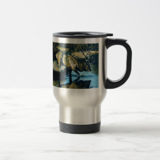 'Reflections' Bull Elk in Water Travel Mug