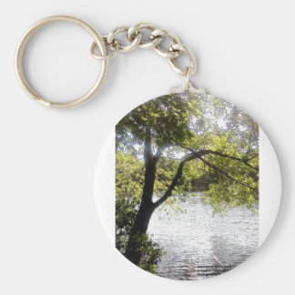 Reflections in the woods basic round button key ring
